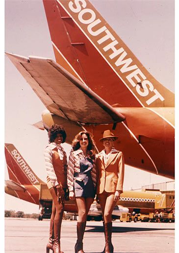All three versions of Southwest's 1977 flight attendant uniform: Short, Shorter, and Good Lord.