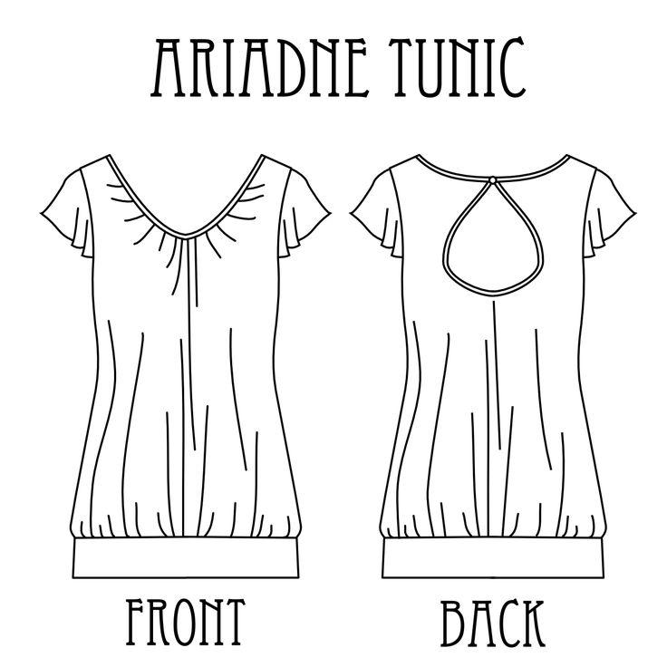 patron gratuit - Ariadne Tunic technical drawing déjà téléchargé