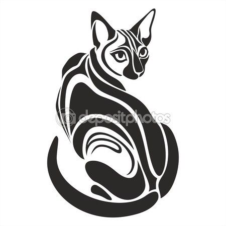 Египетская черная кошка опасные глядя Рисунок татуировки — Векторная картинка #92245118