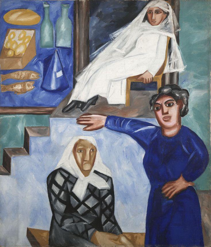 Еврейские женщины. Несостоявшаяся судьба - hudozhnik2010 Картина написана в 1912 году после путешествия по Бессарабии и Причерноморью. Мы видим витрину скромной еврейской лавочки, где продают сахар и хлеб, рыбу и масло. Продавщицы на семейном подряде — молодая, средних лет и пожилая еврейки.