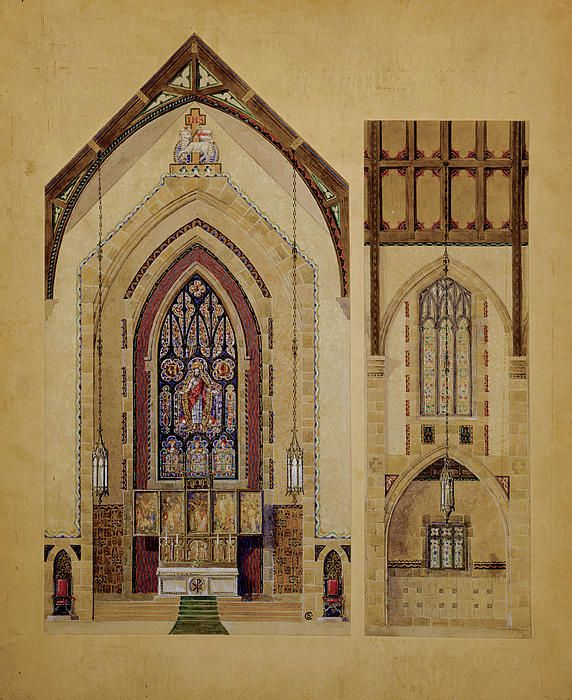 Historic Architectural Rendering Of Church Interior - 2 Views  Painting  - Historic Architectural Rendering Of Church Interior - 2 Views  Fine Art Print
