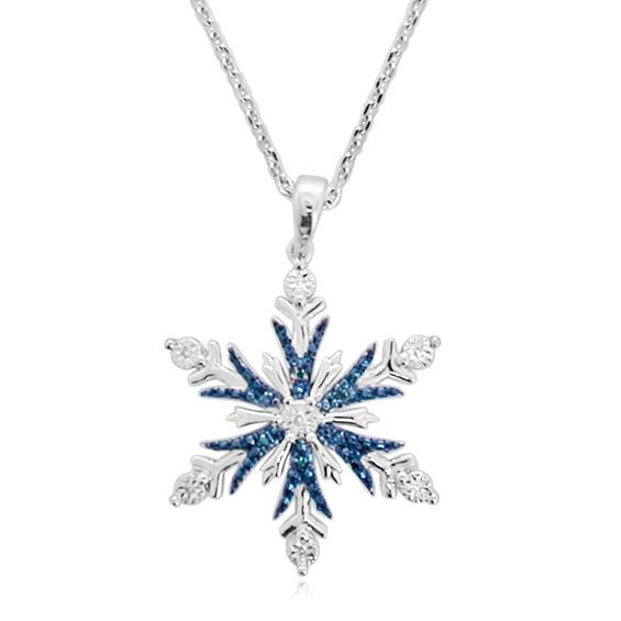 """17/"""" 925 Sterling Silver Christmas Enamel Glitter Snowflake Necklace *OFFER*"""
