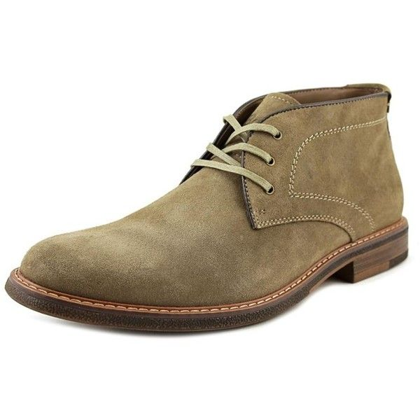 Bass Bass Hurley Men Round Toe Suede Brown Chukka Boot ($69) ❤ liked on Polyvore featuring men's fashion, men's shoes, men's boots, brown, shoes, mens brown suede chelsea boots, mens round toe cowboy boots, mens suede boots, mens brown suede shoes and mens brown chukka boots