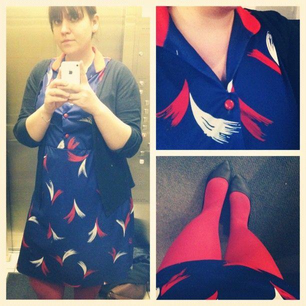 #KensingtonMarket #vintage dress, #ValueVillage cardi, #HUE tights. #whatiwore #dailyoutfit #ootd