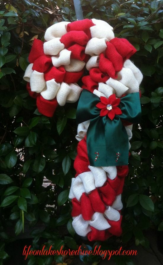 Candy Cane Burlap Wreath;  You Will Need...    Red and White Burlap  Pool Noodle  Floral Pins