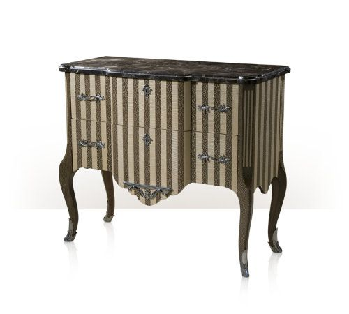 A platinum lacewood and figured natural sycamore striped chest of drawers with stainless steel handles and escutcheons the shaped breakfront marble top above two similar drawers, on fluted inlay angles with cabriole legs terminating in stainless steel sabots. Inspired by a Louis XV original.