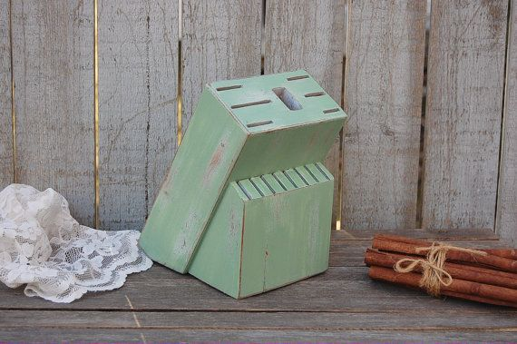 Knife Block Sage Green Upcycled Shabby Chic by TheVintageArtistry
