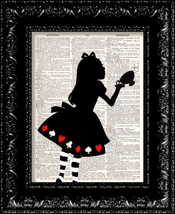Alice In Wonderland Tea Cup print: Original design, on recycled dictionary page by The Rekindled Page USD9.00 via Etsy [Please keep design / artwork credit and original link if reusing or re-pinning. Thanks!]