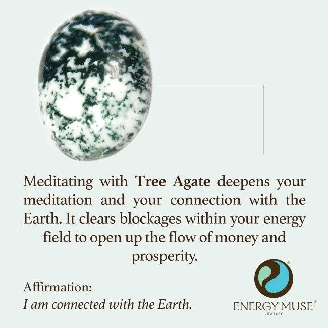 Meditating with Tree Agate deepens your meditation and your connection with the Earth. It clears blockages within your energy field to open up the flow of money and prosperity. #crystals
