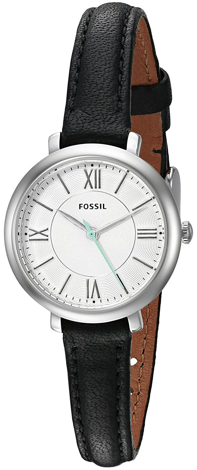 Fossil Women's ES3937 Mini Jacqueline Three-Hand Date Black Leather Watch *** You can get additional details at the image link.