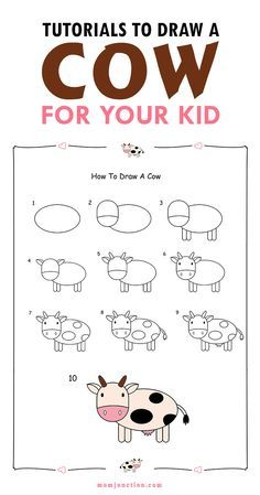 2 easy tutorials on how to draw a cow for kids - Images Of Drawings For Kids