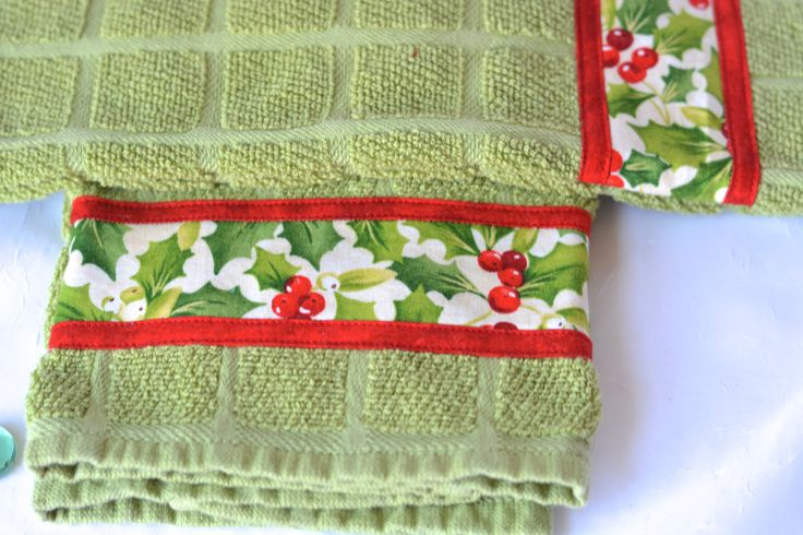 Christmas Kitchen Towel Set, Lovely Hand Decorated Towels, Set of Two Holiday Cotton Kitchen Towels, Green and Red Towel by WexfordTreasures on Etsy