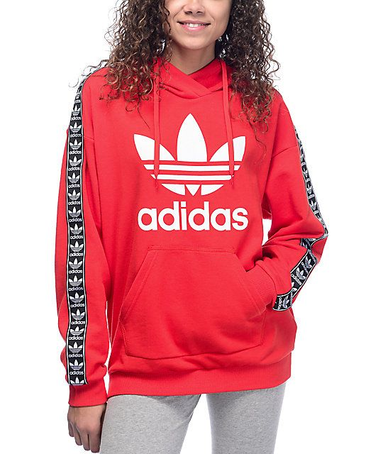 A wonderful blend of premium athletic attire built for everyday use, the adidas Jacquard Sleeve Trefoil Red Womens Hoodie is built with a soft cotton and polyester blend in an all around relaxed fit. adidas had given the hoodie an adjustable drawstring ho