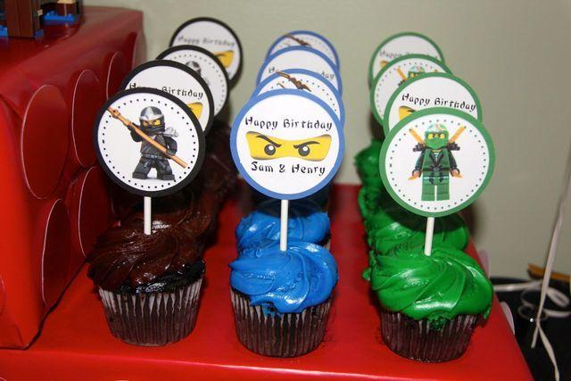 """LEGO Ninjago Karate Party"" on Catch My Party.  Ninjago cupcakes with ninjago character printables"