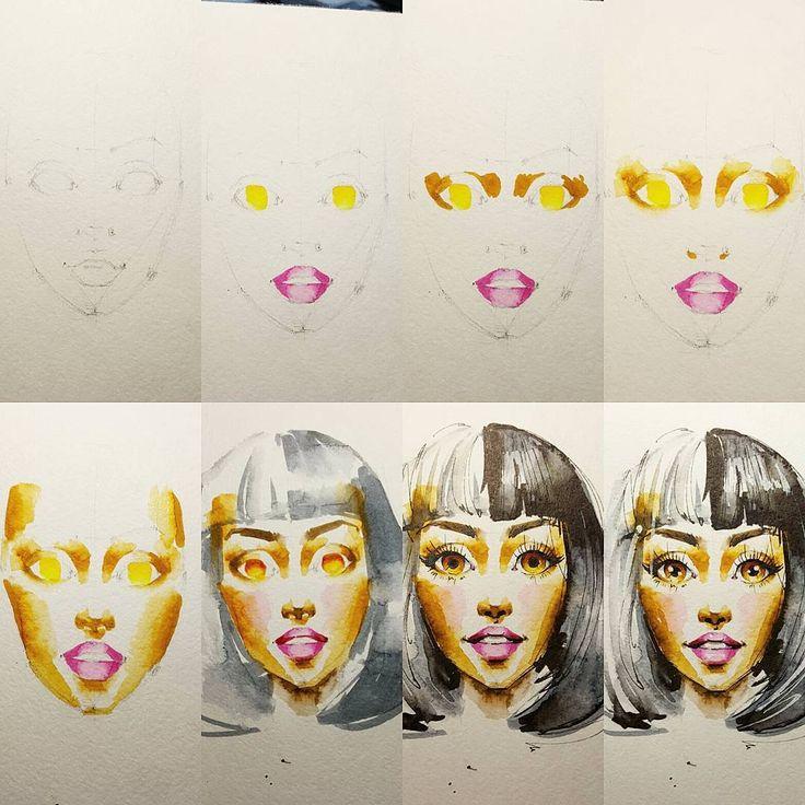 Мэджик? Нет. Порядок работы и корректность выполнения каждого этапа. Всё делают акценты:тонкие черные линии и блики. Но их невозможно правильно поставить без верно нарисованных пропорций и светотеней. Каждый предыдущий этап служит подготовительной базой для последующего. Помните это! #art #sketch #watercolor