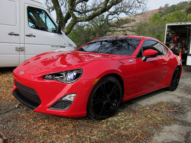 Red Scion FR-S does have the ever TRD lowering springs on it. On the set of the Scion FR-S Commercial.