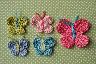 More great butterflies. Decorate a child's room with these #Crochet Butterfies. You can make them in different sizes too.