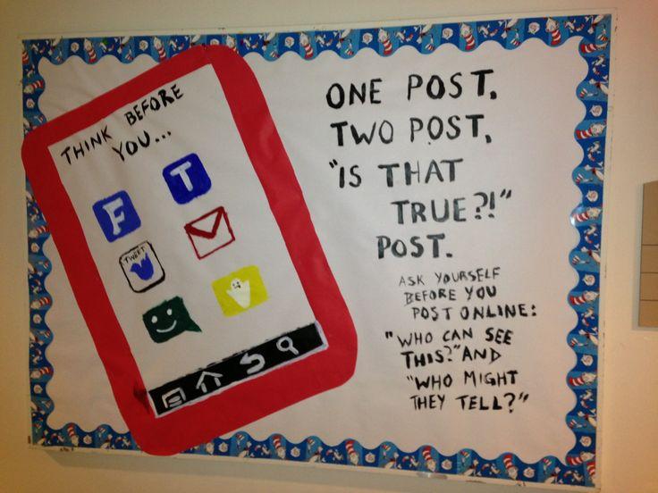 Dr. Seuss themed Social Media Awareness Bulletin Board