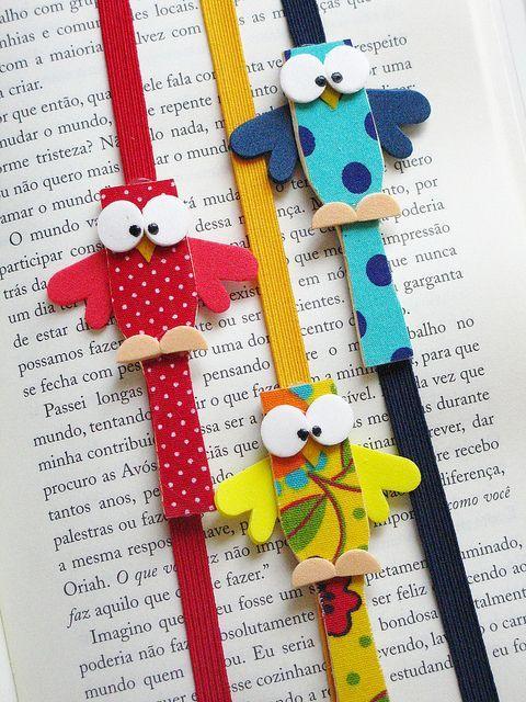 handcrafted Marcadores De Livros! ... owls on colorful elastic bands ...