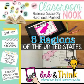 "Use ""Link & Think"" digital learning guides in your classroom to spark active thinking in your classroom. This digital learning guide introduces the 5 regions of the United States (Northeast, Southeast, Midwest, Southwest, and West)."