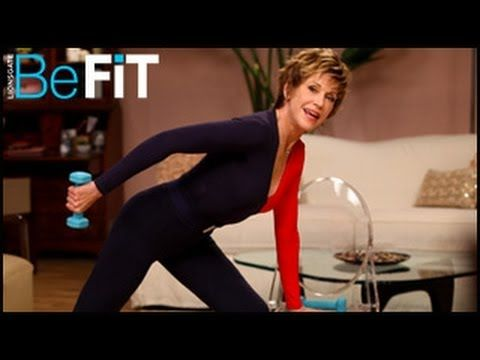 Jane Fonda: Fit & Strong Workout- Level 1 is a 25-minute, metabolism-boosting workout that targets all of the major muscle groups of the body to burn fat, strengthen the core, improve posture, and tone the arms, legs, abs, butt, shoulders, chest, and back through a unique combination of cardio and low intensity strength-training exercises. Prepa...