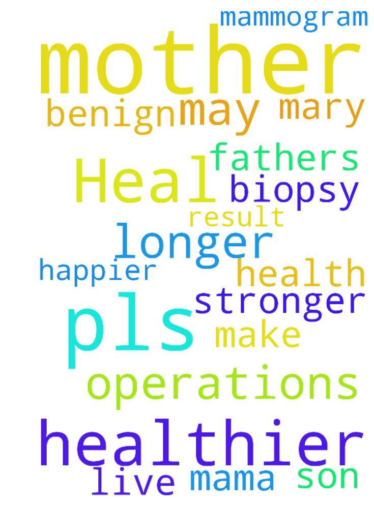 Heal my mother -  	Lord pls heal my mother make her stronger and healthier I pray that her mammogram result are all benign and no need for biopsy and operations. Pls mama Mary help me to pray to your son for my mother and fathers health that they may live longer happier and healthier amen   Posted at: https://prayerrequest.com/t/3pa #pray #prayer #request #prayerrequest