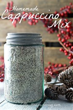 Homemade Cappuccino Mix Recipe. So simple to make, perfect gift idea or to make for yourself! Pin to make later.