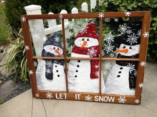 Beautiful snowman window frame | Top 30 Lovely and Cheap DIY Christmas Crafts Sure to Wow You