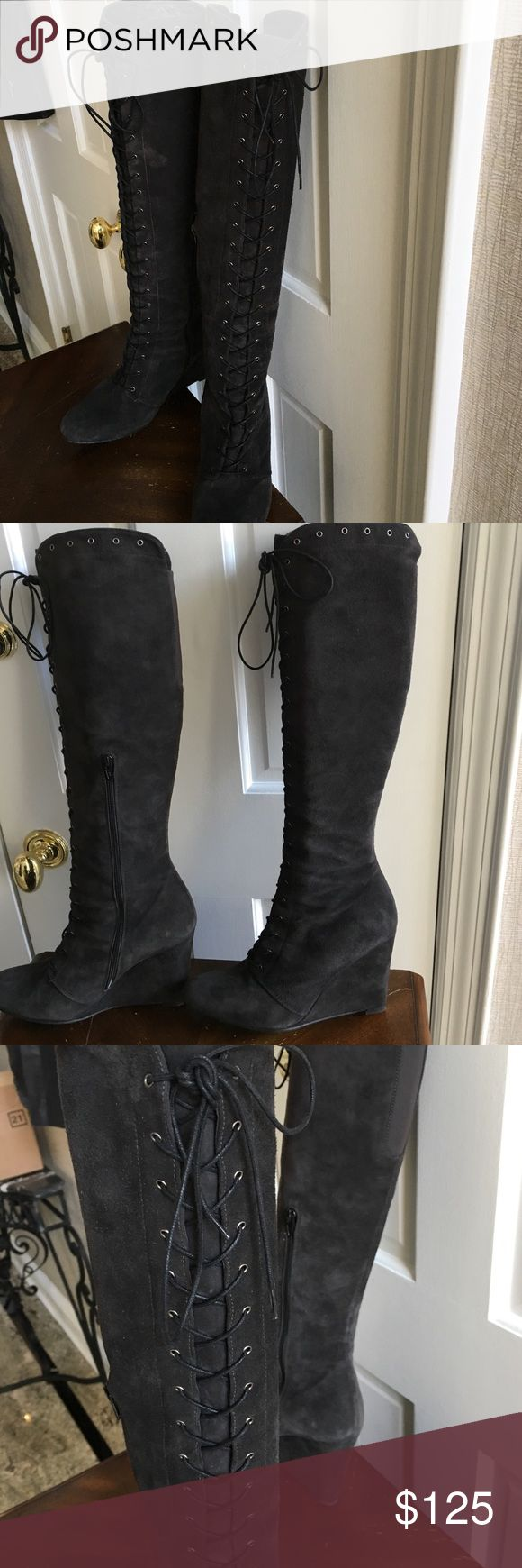 Ladies wedge suede boots by Stuart weitzman Black sued lace up boots, slightly over knee w side zipper for easy acces Stuart Weitzman Shoes Over the Knee Boots
