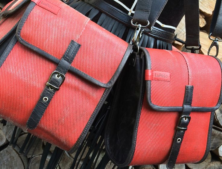 Small shoulderbags, made of used firehose and black leather