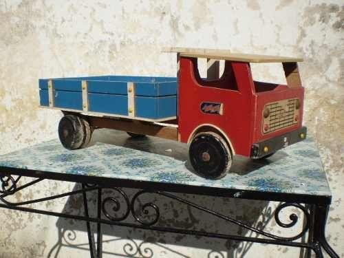 Juguete antiguo camion fiat hecho totalmente de madera - Juguetes antiguos de madera ...