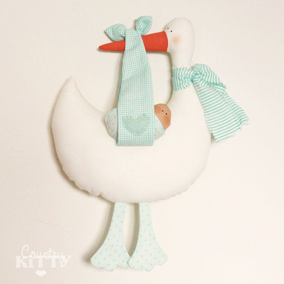 Stork softie newborn decoration - Fiocco nascita cicogna - customisable name - baby boy - mint green via Etsy
