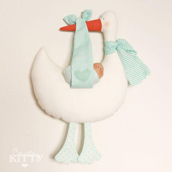 Stork softie newborn decoration - Fiocco nascita cicogna - customisable name - baby boy - mint green via Etsy