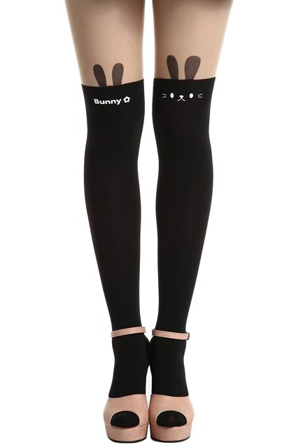 Contrasting Bunny Black Over-knee Tights