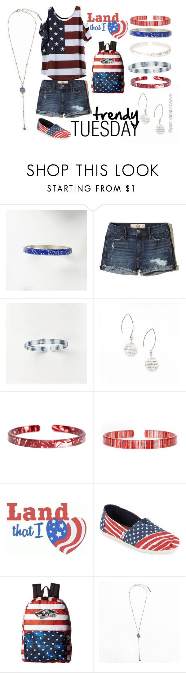 """Land That I Love"" by jessica-kabat on Polyvore featuring AMBRE, Hollister Co., TOMS, Vans, USA, American, patriotic and forthofjuly"