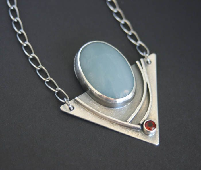 15X23 Amazonite and 4MM Fire Citrine Modern Edgy Necklace Triangle is 40X30 by CoriluDesigns on Etsy https://www.etsy.com/listing/206705848/amazonite-and-fire-citrine-modern-edgy