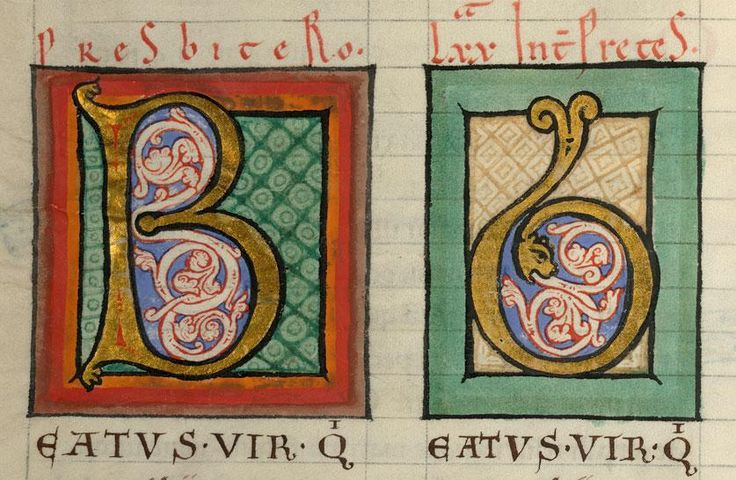 Psalterium latine et graece ; varia sacra  Langues : grec, latin Date : 12e s. (1145-1153)- Valenciennes, Bibl. mun., ms. 0014, f. 009v