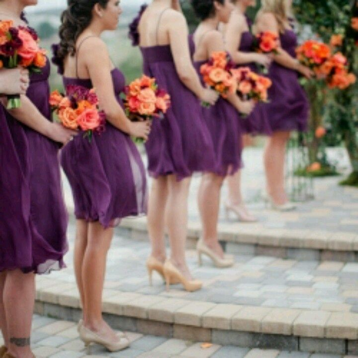 A Beautiful Purple And Orange Wedding Style With The Maid Of Honor Having A  Purple Flower Bouquet. And So Beautiful! Purple And Orange Are Two Of My ...