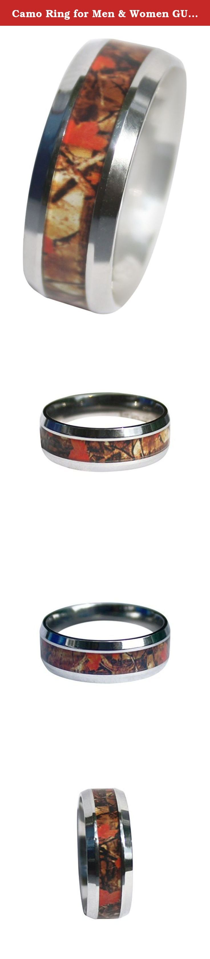 Camo Ring for Men & Women GUARANTEED LIFETIME WARRANTY, 8mm Wild Amber Blaze Orange Camo Ring, Camo Wedding Rings ON SALE TODAY!. These awesome rings were custom designed and built with a unique wild amber blaze orange camo pattern that is brand new and getting rave reviews. Wild Camo they call it, and the reviews for this ring are 5 star for a reason. High quality Surgical Grade Stainless Steel with a beautiful and detailed resin inlay that is sealed perfectly. These camo rings are great...