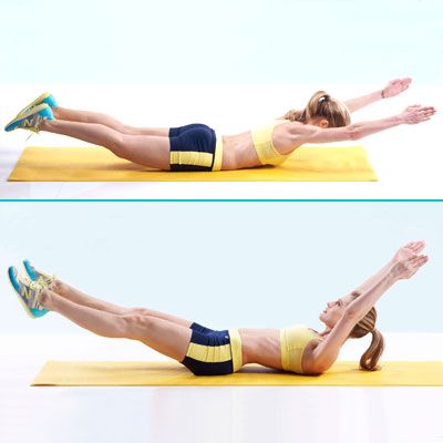 """Superman-Banana Roll... I've been doing this as part of my morning at home work out but I do a """"pike crunch"""" after I roll over onto my back and then lower and roll back to my stomach. It feels so silly but makes my abs hurt the next day ha."""