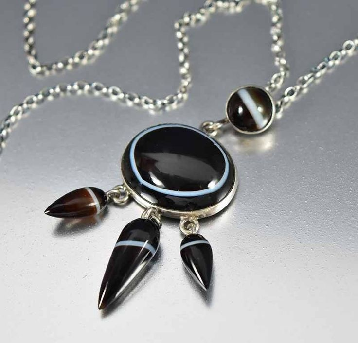 Victorian Sterling Scottish Banded Agate Pendant Necklace  #Victorian #Necklace #Agate #Scottish #Band #Sterling #Pendant #Silver #Maple #Cocktail