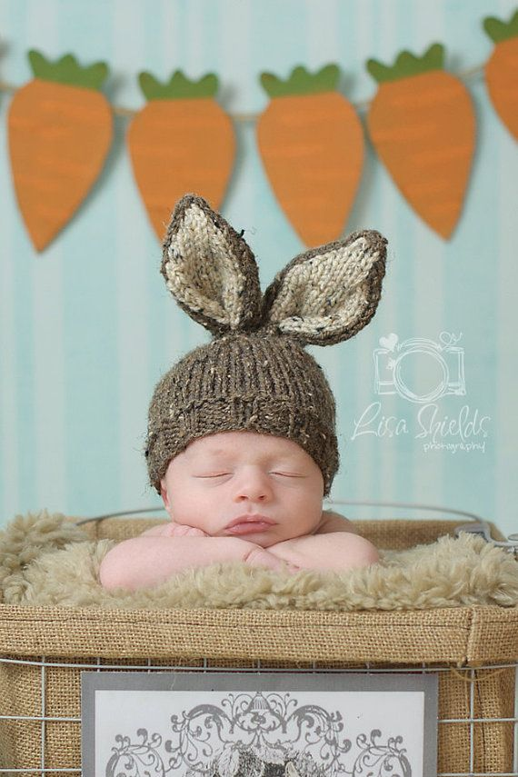 Knit Baby Bunny / Newborn Hat, Easter Rabbit, Knitted Photo Prop, Barley Brown with Oatmeal Inner Ears, Custom colors avail, NB 0-3 Mo.