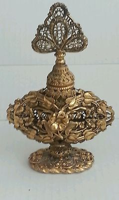 Antique Gold Brass Gilt Filigree Ormolu Perfume Bottle |