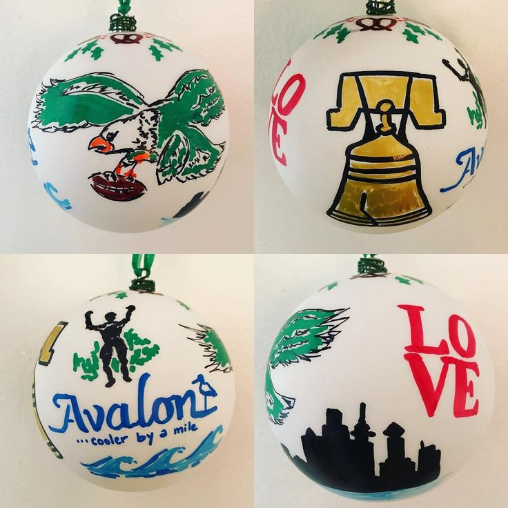 With the  game tonight the timing is right to post this ornament I affectionately call Yo Philly! (With a touch of Avalon).    . #philadelphiaeagles #eagles #gobirds #philadelphia #pretzel #love #lovesculpture #libertybell #rockystatue #philly #city #custom #ornament #holidaydecor #christmastree #nfl #football