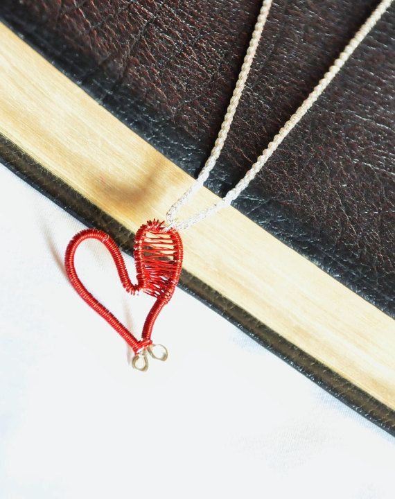 Red Heart Necklace, Wire Wrapped pendant, Copper Jewelry, Valentine's Day Gift, Love you Necklace, Copper Anniversary gift, Birthday present