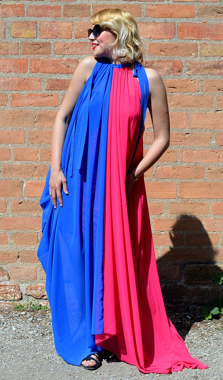 New in our shop! Royal Blue and Pink Summer Dress TDK255, Extravagant Flared Summer Kaftan, Asymmetrical Sheer Dress https://www.etsy.com/listing/523982803/royal-blue-and-pink-summer-dress-tdk255?utm_campaign=crowdfire&utm_content=crowdfire&utm_medium=social&utm_source=pinterest