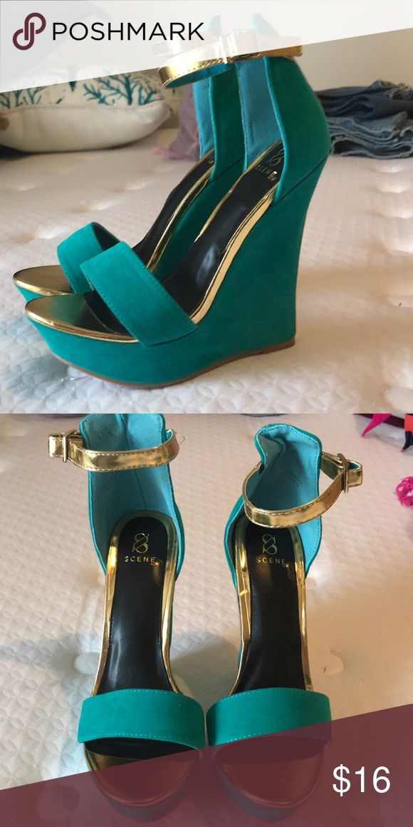 Turquoise Wedges Turquoise suede wedges from Shoedazzle  Never worn Scene Shoes Wedges
