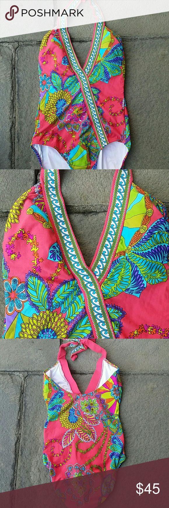 Trina turk multi color one piece v neck swimsuit Vibrant tropical design one piece halter swim suit vguc Trina Turk Swim One Pieces