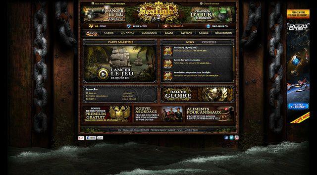 L'écran de démarrage, très fourni, de Seafight. - http://fr.bigpoint.com/seafight/