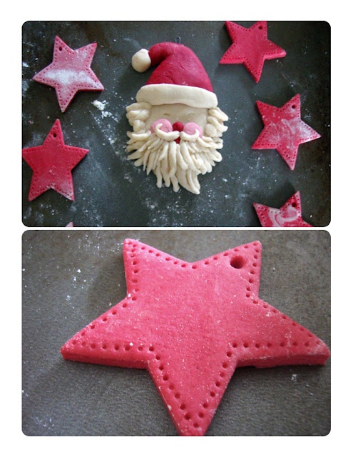Salt Dough Recipe/// I am following this one with my latest attempt at salt dough ornaments. She suggests allowing the dough to dry for two days, rather than baking it (which is why my salt dough ornaments and jewelry came out like pita bread before, I guess!)